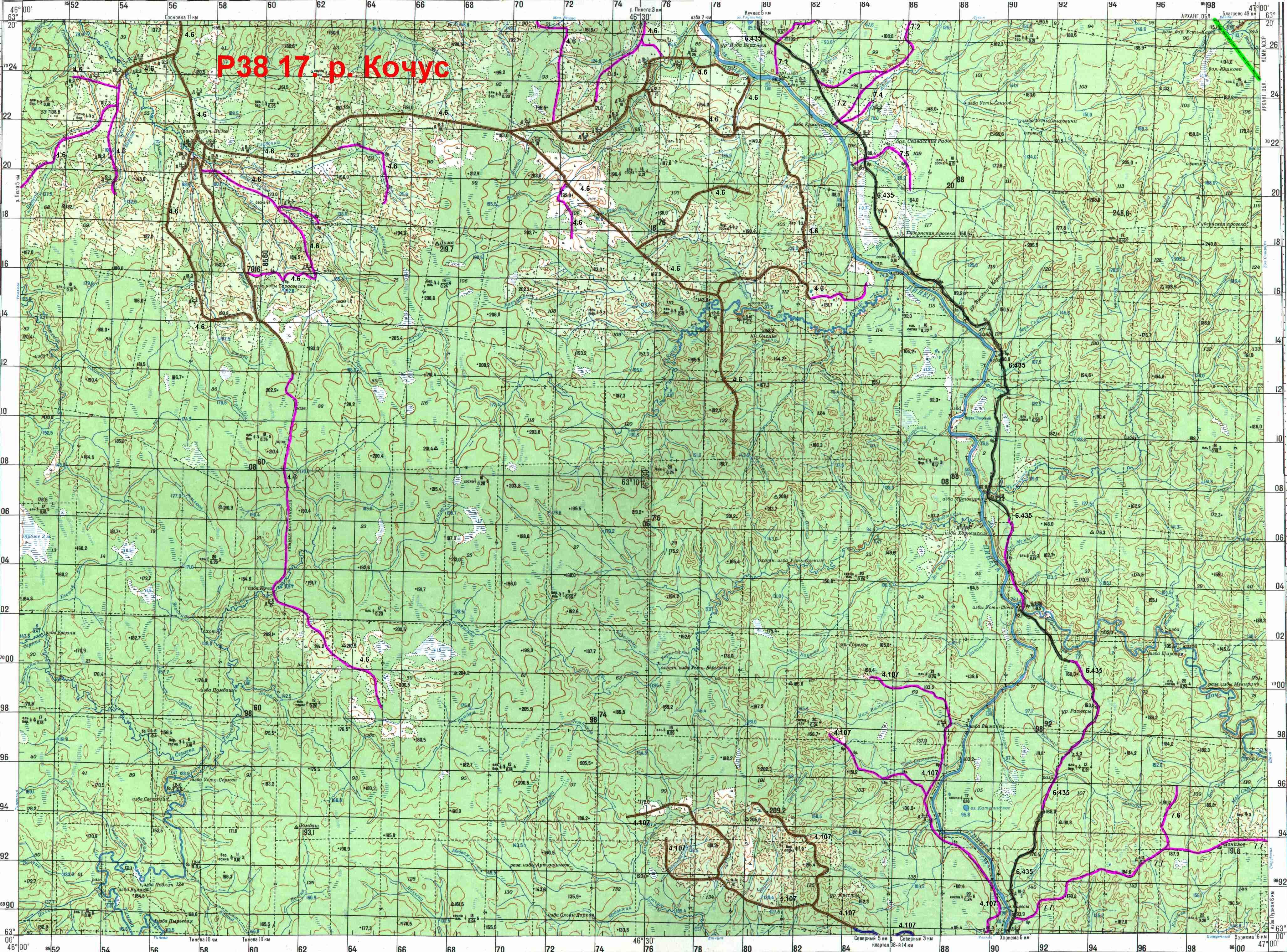 Топографическая Карта Реки Койва